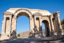 The historical gate at the entrance of the ancient city of Anavarza Anavarza Antique City in Adana, Turkey