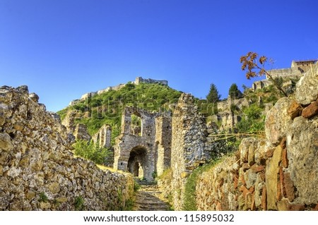 The historical site of Mystras, a Byzantine castle in Greece - stock photo
