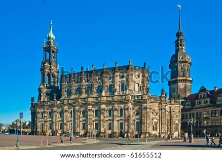 "The ""Hofkirche"" at the Oprea house of Dresden, Germany"