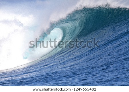 The hollow, covered portion of a wave forming a tube #1249655482