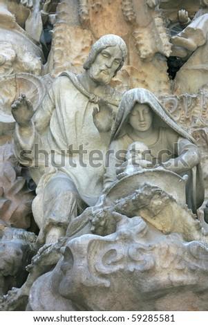 The Holly Family- architectural details on La Sagrada Familia (Barcelona, Spain).