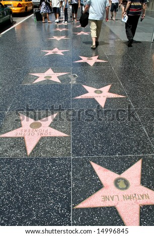 The Hollywood Walk Of Fame stars on Hollywood Boulevard.