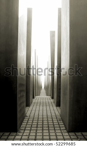 The Holocaost monument in Berlin, Germany (consist of 2711 concrete blocks whit different highs and parallel alignment placed on 19.000 squaremeters urban area)