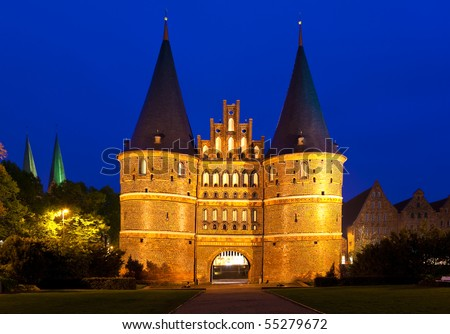 The Holsten Gate in Lubeck, Germany.