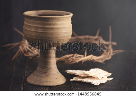 The Holy Communion or Lords Supper Symbols of Jesus Christ Stock photo ©
