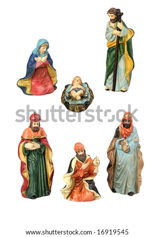 The Holy Family and the three wise men from the nativity, each isolated as design elements over white background.