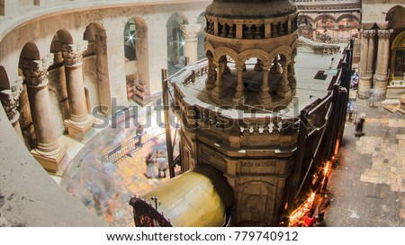 The Holy Sepulchre Church inside from top in Jerusalem timelapse. This is the most sacred place for all Christians in the world. Golgotha, Stone of Anointing, Jesus Grave. Jerusalem, Israel #779740912