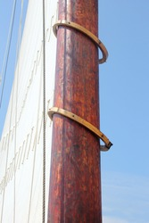 The hoops on the mast of a schooner