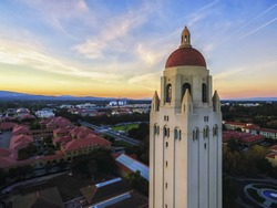 The Hoover Tower and view above Stanford at sunset in Palo Alto in California,