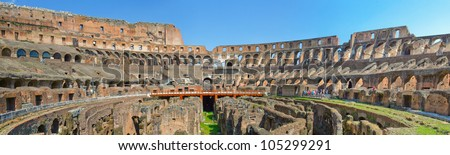 The horizontal panorama of ancient famous Rome Coliseum. Italy.