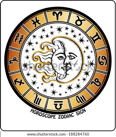 The  Horoscope circle with signs and of the zodiac. Inside the symbol of the sun and moon with stars. Retro style,illustration