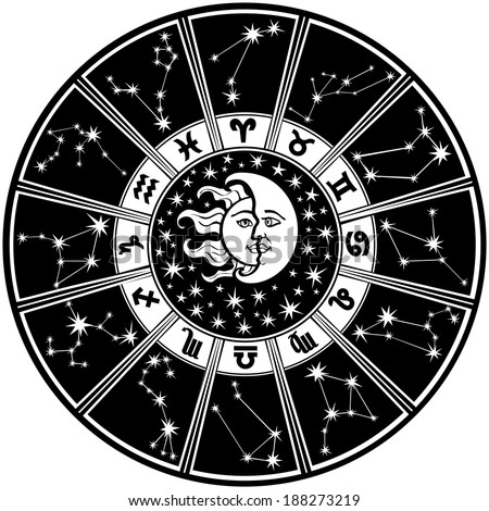The Horoscope circle with  Zodiac signs and constellations of the zodiac.Inside the symbol of the sun and moon.Retro style.Black and white colors, illustration