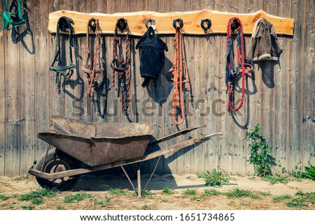 The horse harness hangs on the stall