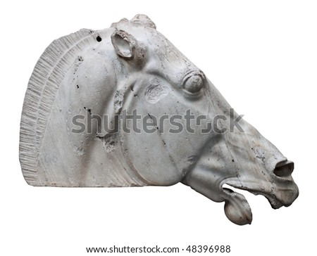 The Horse of Selene from the Parthenon in Athens isolated on white with clipping path