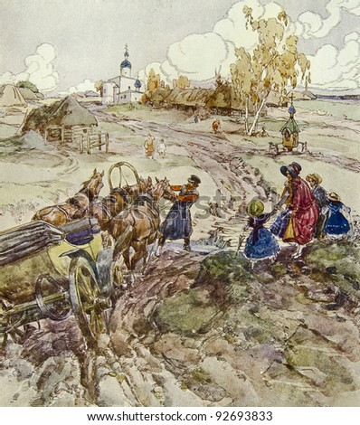 "The horse vehicle has got stuck in a dirt. Illustration by artist A.Apnist from book ""Leo Tolstoy ""Childhood, adolescence, youth"", publisher - ""Partnership Sytin"", Moscow, Russia, 1914."