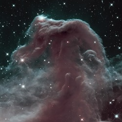 The Horsehead Nebula is a dense cloud of gas and dust embedded in a much larger structure. Infrared view. Elements of this image furnished by NASA.