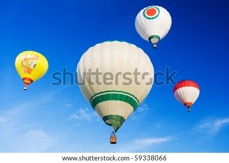 the hot air balloons on blue sky