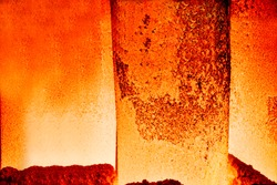 The hot steel close shot in the steel mills