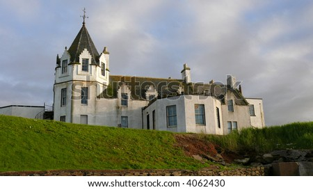The hotel at John O'Groats in Caithness Scotland that is now closed and falling into ruin