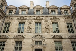 The hotel de Sully ,its mannerist ornamental motifs are representative of the late Renaissance: heads of women, plant motifs, allegories of the Elements...It is listed as an historic monument in 1862.