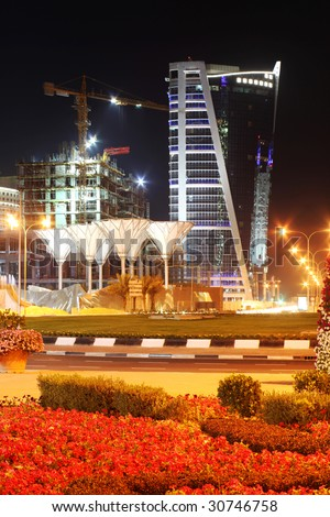 The hotels area of, Doha, Qatar, at night, April 2009.