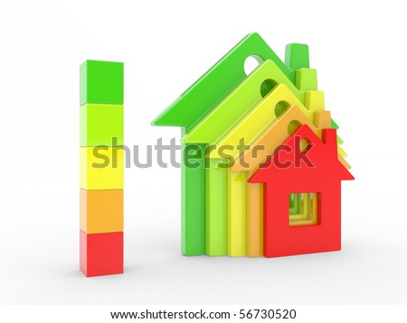 The house and scale of energy of efficiency on a white background