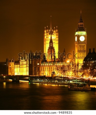 The House of Parliament  London  England   Night