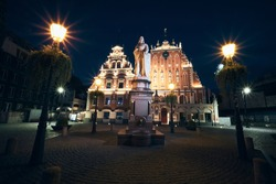 The House of the Blackheads Light Up in the old town of Riga, Latvia