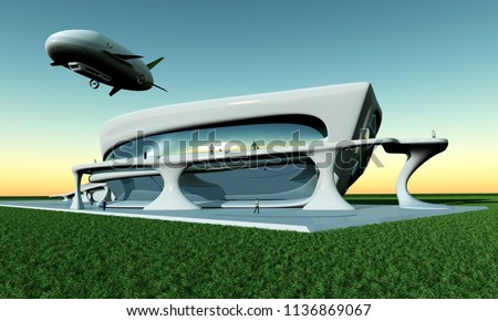 The house of the future and the airship. ,3d render