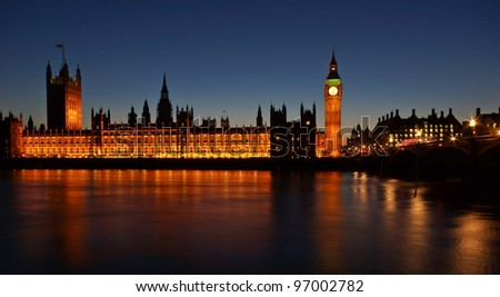 The Houses of Parliament and Westminster Bridge at dusk