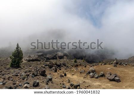 The 'hoyo negro' vulcano crater on the island of La Palma, Canary islands Foto stock ©