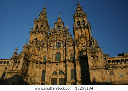 The huge Santiago of Compostela impressive cathedral