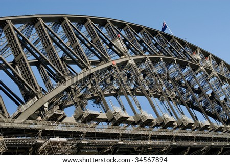 The huge steel structure of the Harbour Bridge, Sydney, Australia ...
