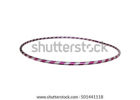 The hula Hoop silver with purple isolated on white background. Gymnastics, fitness,diet. #501441118