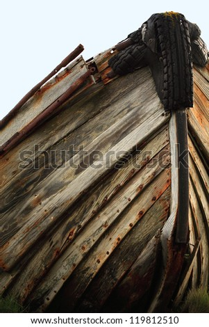 The hull of an old wooden boat hull Iceland