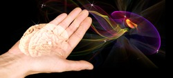 The human brain on an open palm on a black background. Hypnosis mysteries. The subconscious mind