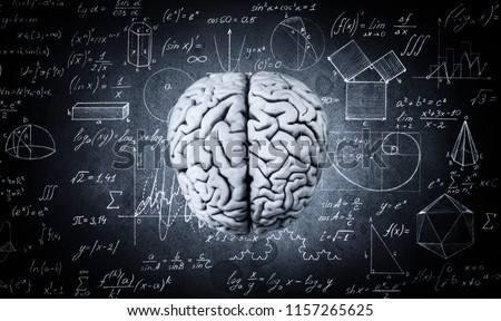 The human brain on the background of physical and mathematical formulas. Education, science and medical abstract background.