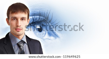 The Human eye on white background with man