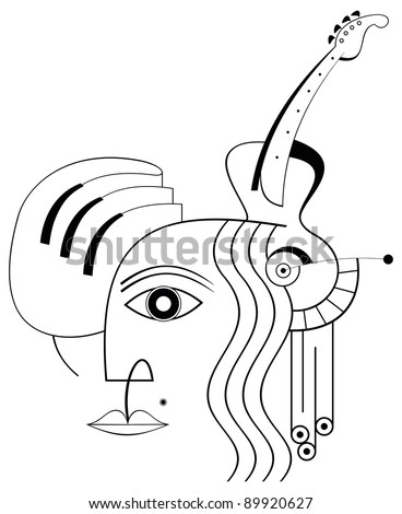 The human face, hand, piano and guitar - an abstract composition, musical collage. Lineart isolated icon on white background.