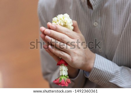The human hands are join together which call Wai and offer the flower garland to the elder to show the respect and admire, teacher day ceremony, mother day, Thai culture, conservative, concept.