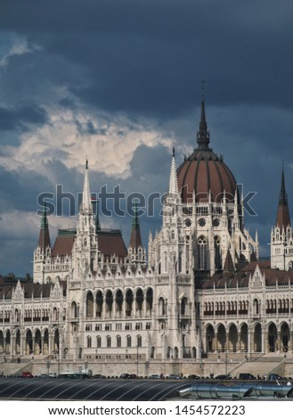The Hungarian parliament building against stormy sky. #1454572223