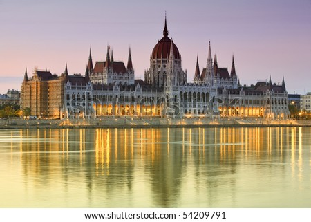 the hungarian parliament building is the seat of the national assembly of hungary, one of europe's oldest legislative buildings budapest hungary building parliament tourist water flow danube river anc Photo stock ©