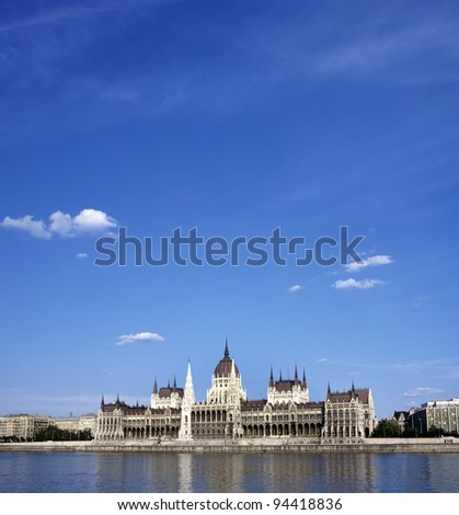 The Hungarian Parliament Building is the seat of the National Assembly of Hungary, one of Europe's oldest legislative buildings. Upper side of the photo space for text