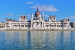 The Hungarian Parliament Building on the bank of the Danube in Budapest