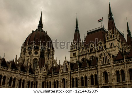 The Hungarian Parliament Building on the bank of the Danube in Budapest #1214432839