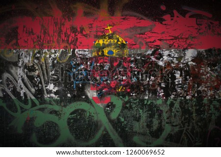 the Hungarians in Vojvodina flag painted on dirty street wall with graffiti texture background. National political symbol street art. #1260069652