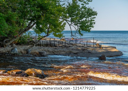 The Hurrican River empties into Lake Superior at Hurrican River Campground in the Pictured Rocks National Lakeshore