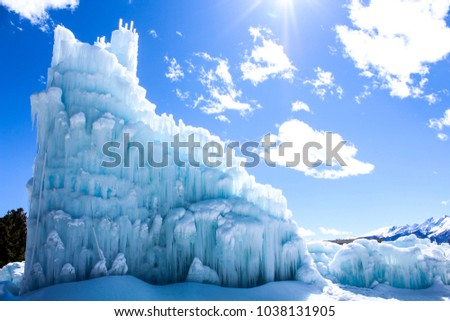 The Ice Castles in Dillon Colorado. A frozen palace made annually to attract tourist and locals.