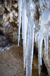 The ice fixed to this rock look beautiful and so pure.  Every winter we can admire this type of thing called