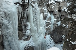 The Ice Walk through frozen Maligne Canyon in Jasper National Park is a world famous attraction.